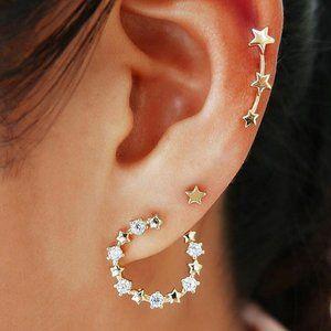 3/$25 Star Stud and Star Hoop Earrings Set